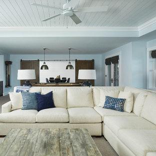 グランドラピッズの大きいビーチスタイルのおしゃれなファミリールーム (青い壁、カーペット敷き、標準型暖炉、石材の暖炉まわり、埋込式メディアウォール、ベージュの床) の写真