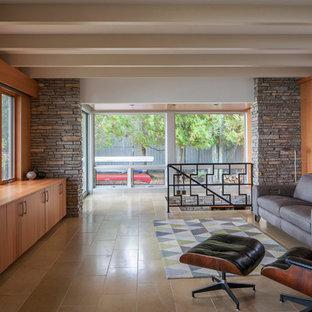 他の地域の中サイズのミッドセンチュリースタイルのおしゃれなファミリールーム (茶色い壁、磁器タイルの床、暖炉なし、内蔵型テレビ) の写真