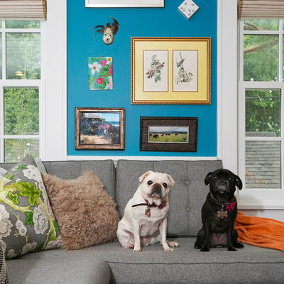 Eclectic family room photo in Minneapolis with blue walls