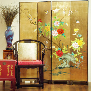Gold Leaf Birds and Flowers Design Floor Screen