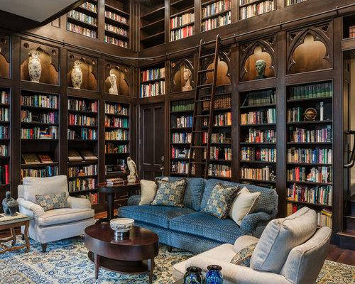 Large Elegant Dark Wood Floor And Brown Floor Family Room Photo In  Philadelphia With Brown Walls