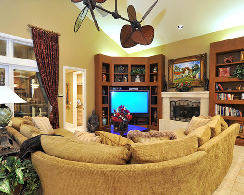 Tropical Open Concept Family Room Idea In Tampa With Beige Walls A Standard Fireplace And