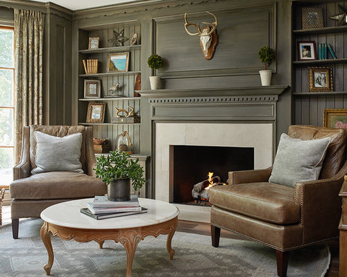 Family Room   Large Traditional Medium Tone Wood Floor Family Room Idea In  Grand Rapids With