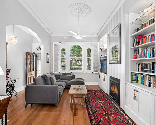 Inspiration For A Traditional Open Concept Family Room In Sydney With White  Walls, Medium Hardwood