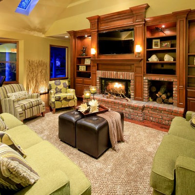Inspiration for a timeless family room remodel in Sacramento with beige walls, a standard fireplace, a brick fireplace and a wall-mounted tv