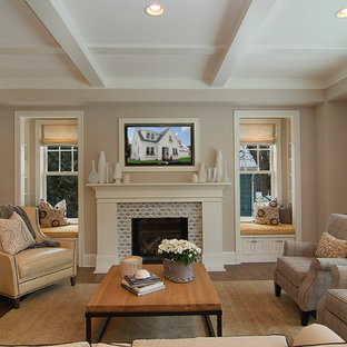 Transitional family room in Minneapolis with grey walls.