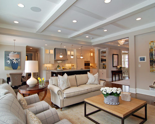 Inspiration For A Transitional Open Concept Family Room Remodel In  Minneapolis With Beige Walls And Medium