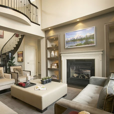 Transitional Family Room by David Nosella Interior Design