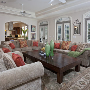 Inspiration For A Timeless Family Room Remodel In Miami With Beige Walls