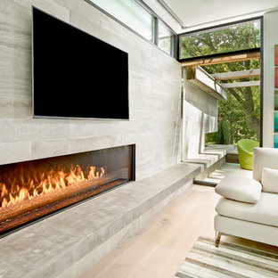 Great Room Fireplace with Indoor / Outdoor Concrete Hearth