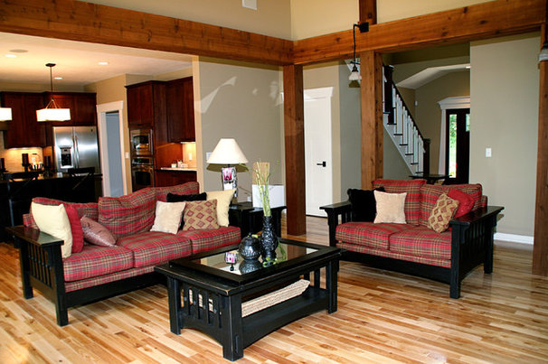 Rustic Family Room by Green Apple Design