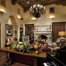 Mediterranean Family Room by R.J. Gurley Custom Homes
