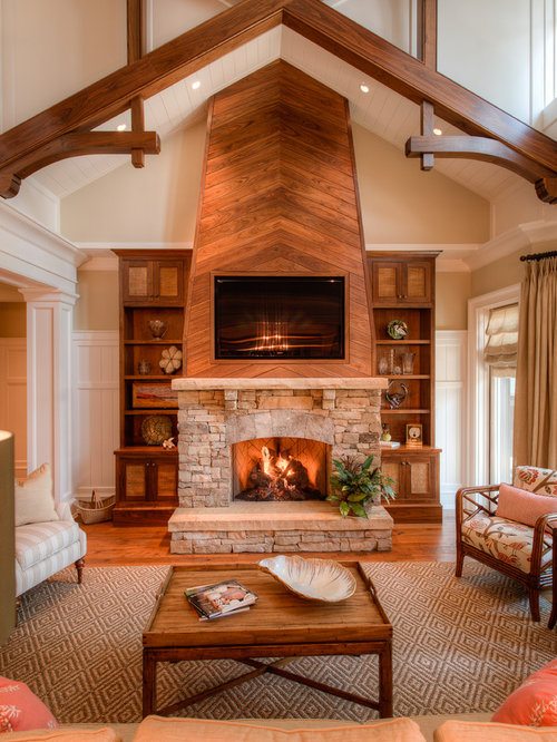 Wood Fireplace Wall Home Design Ideas Pictures Remodel