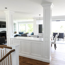 Transitional Family Room by Sarah Gallop Design Inc.