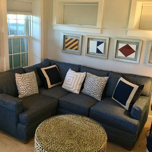 Family room - coastal family room idea in Boston
