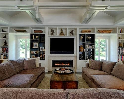 photos et id es d co de pi ces vivre asiatiques avec un manteau de chemin e en carrelage. Black Bedroom Furniture Sets. Home Design Ideas
