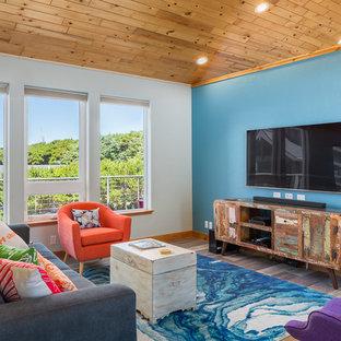 デンバーの中サイズのビーチスタイルのおしゃれなファミリールーム (青い壁、ラミネートの床、マルチカラーの床) の写真