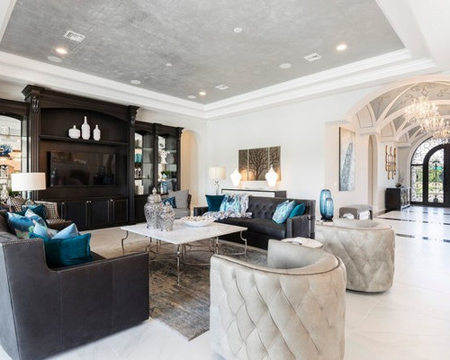 Traditional Open Concept Gray Floor Family Room Idea In Orlando With Gray  Walls And A Media