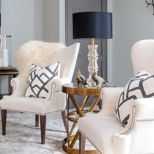 Foto di un grande soggiorno minimal chiuso con sala giochi, pareti grigie e moquette