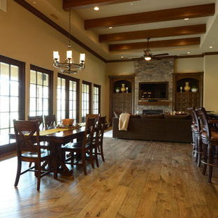 Hand Distressed Hickory Floors - Great Room w/Bar