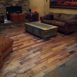 Hand scraped mixed specie wood planks - Chris' house Park City, UT, Old Americana Floors mixed specie handscraped Woca oil finish