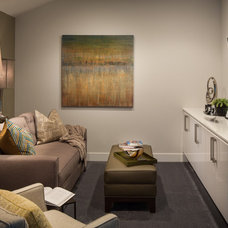 Transitional Family Room by Kelly Ferm Inc.