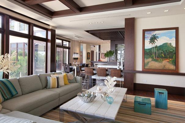 Tropical Family Room by B Pila Design Studio