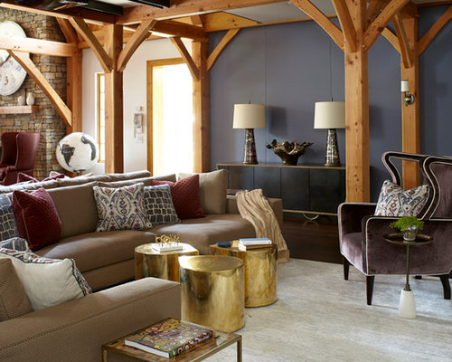 Eclectic Family Room Photo In New York With Multicolored Walls