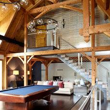Farmhouse Family Room by Fun House Furnishings & Design