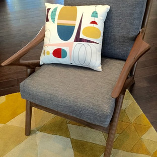 Have fun with color | Mid Century Modern arm chair + mod pillow + yellow facets