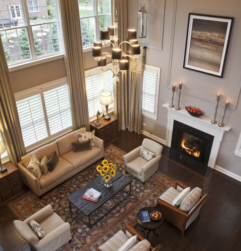Two story window treatments houzz for Great room accessories