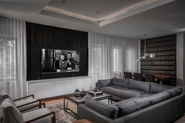 Contemporary Family Room by Morrone Interiors