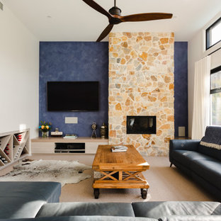Photo of a beach style family room in Adelaide.