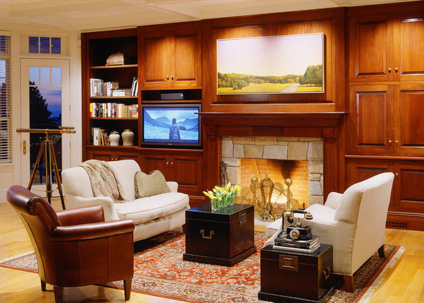Transitional Family Room by SV Design