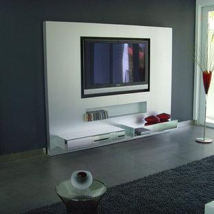 Esempio di un soggiorno contemporaneo di medie dimensioni e aperto con pareti grigie, pavimento in ardesia, nessun camino, parete attrezzata e pavimento grigio