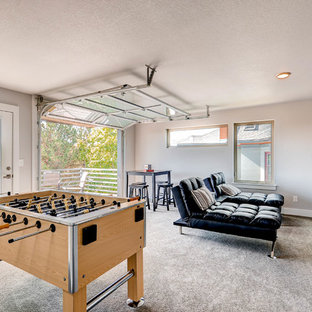 Design ideas for a contemporary enclosed family and games room in Denver with a game room and carpet.