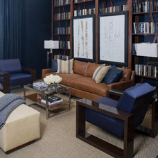 Transitional Family Room by Robert Brown Interior Design