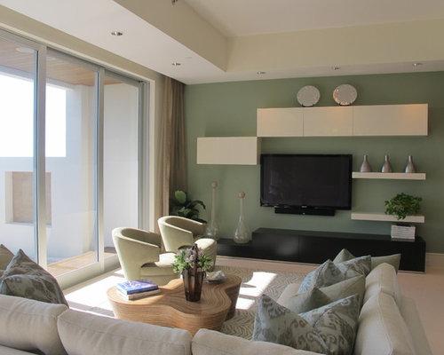 Wohnzimmer mit Marmorboden und grünen Wänden - Ideen ...