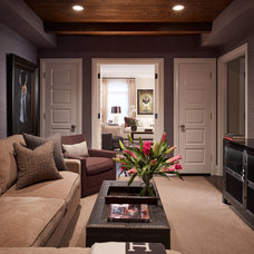 Transitional Family Room by Stephanie Wohlner Design