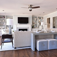 Transitional Family Room by Traci Connell Interiors