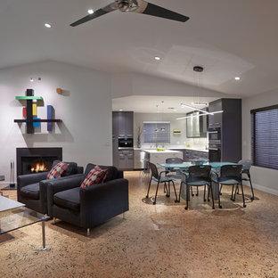 フェニックスの中くらいのコンテンポラリースタイルのおしゃれなオープンリビング (白い壁、コルクフローリング、標準型暖炉、コンクリートの暖炉まわり、マルチカラーの床) の写真