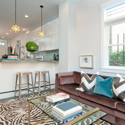 Small trendy open concept carpeted family room photo in Bridgeport with white walls, no fireplace and a tv stand