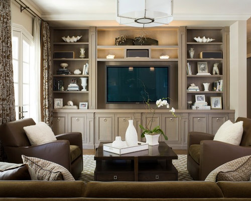 Example Of A Classic Family Room Design In San Francisco With A Media Wall