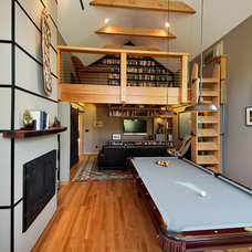 Industrial Family Room by Boren Construction