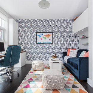 Inspiration for a small transitional enclosed dark wood floor and brown floor family room remodel in New York with gray walls, no fireplace and a wall-mounted tv