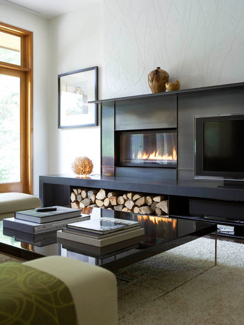Fireplace next to tv home design ideas pictures remodel for Modern living room accessories