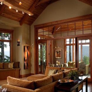 Inspiration pour une salle de séjour craftsman.