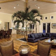 Tropical Family Room by Hollub Homes
