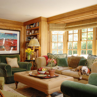 Family room - traditional enclosed family room idea in Los Angeles with beige walls