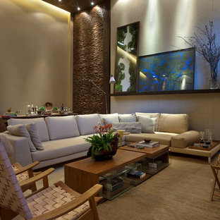 Family room - contemporary family room idea in Other with beige walls